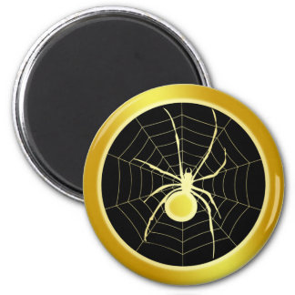 GOLD SPIDER AND WEB 6 CM ROUND MAGNET
