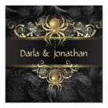 Gold Spider Web Swirls Save The Date Personalized Announcements