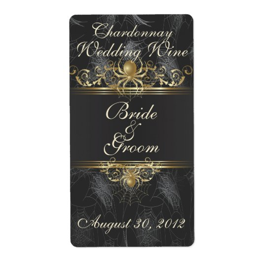 Gold Spiders Elegant Wedding Wine Label