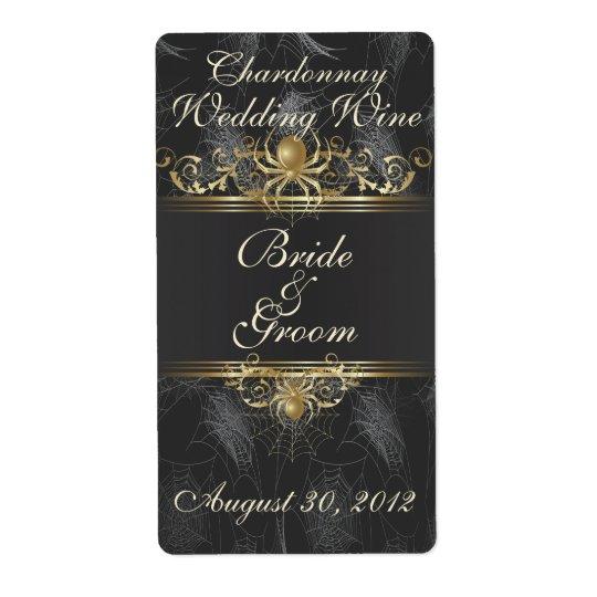 Gold Spiders Elegant Wedding Wine Label