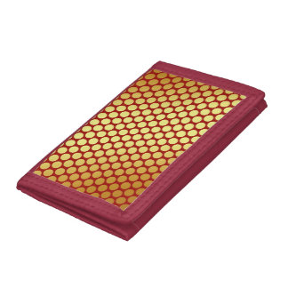 Gold Spots On Red Tri-fold Wallet