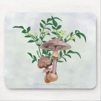 Gold Spotted Mushrooms, Star Flowers Mousepad