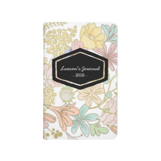 Gold spring flowers personalized notebook