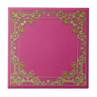 Gold square glittery border tile