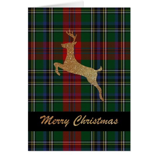 Gold Stag MacLean Plaid Christmas Greeting Card