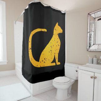 Gold Stained Glass Cat CrystalKatz Shower Curtains