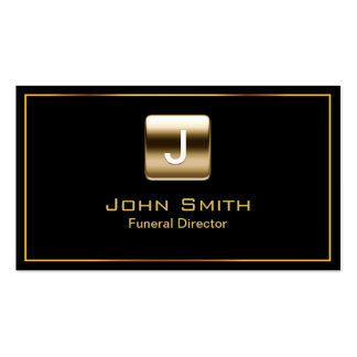 Gold Stamp Funeral Dark Business Card