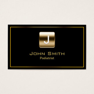 Gold Stamp Podiatrist Dark Business Card