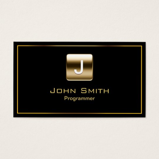 Gold Stamp Programmer Dark Business Card