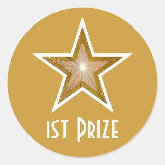 Gold Star '1st Prize' round sticker yellow