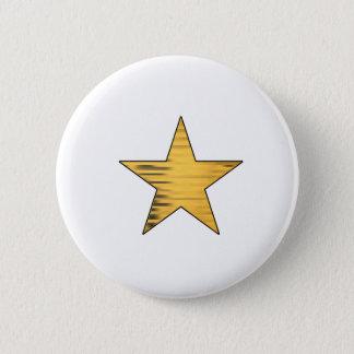 Gold Star 6 Cm Round Badge
