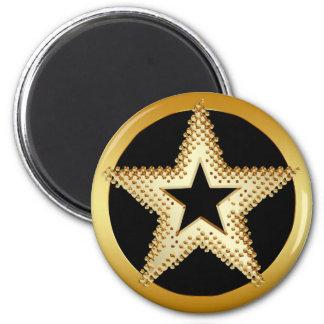 GOLD STAR 6 CM ROUND MAGNET