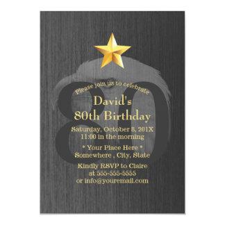 Gold Star Bald Eagle 80th Birthday Party 13 Cm X 18 Cm Invitation Card