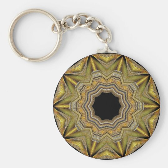 Gold Star Basic Round Button Key Ring