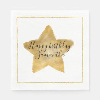 Gold Star Birthday Disposable Serviettes