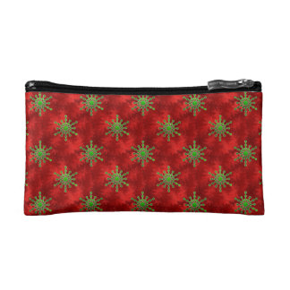 Gold Star Bursts Red Foil Pattern Holiday Cosmetic Bag