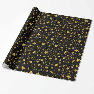 Gold Star Confetti Pattern Wrapping Paper