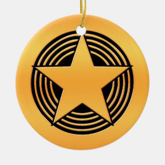 Gold Star Double-Sided Ceramic Round Christmas Ornament
