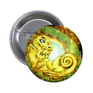Gold Star Dragon Pinback Buttons