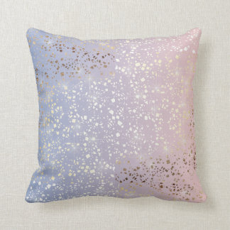 Gold Star Foil Sparkle Rose Quartz Serenity Blue Cushion