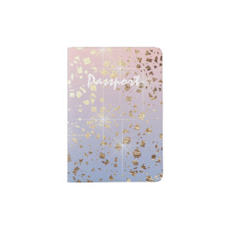 Gold Star Foil Sparkle Rose Quartz Serenity Blue Passport Holder