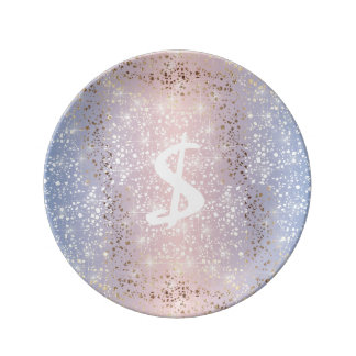 Gold Star Foil Sparkle Rose Quartz Serenity Blue Porcelain Plate