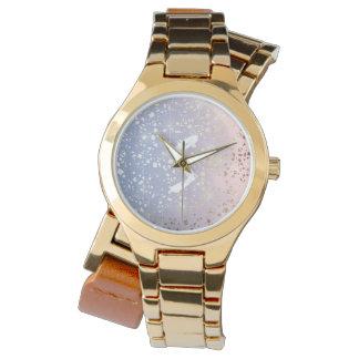 Gold Star Foil Sparkle Rose Quartz Serenity Blue Wristwatches