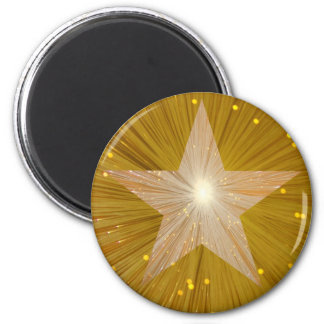 Gold Star fridge magnet round