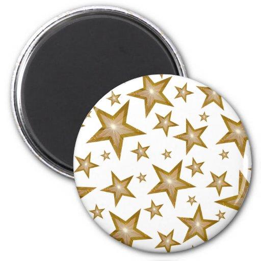 Gold Star fridge magnet round white Fridge Magnets