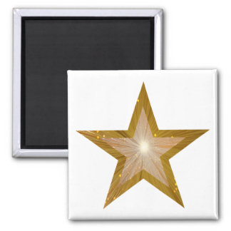 Gold Star fridge magnet square white