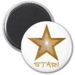Gold Star fridge 'STAR!' magnet round white