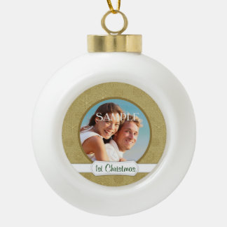 Gold Star Glitter First Christmas Template Ceramic Ball Christmas Ornament
