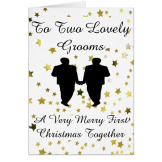 Gold Star Groom Silhouette Gay 1st Christmas Card