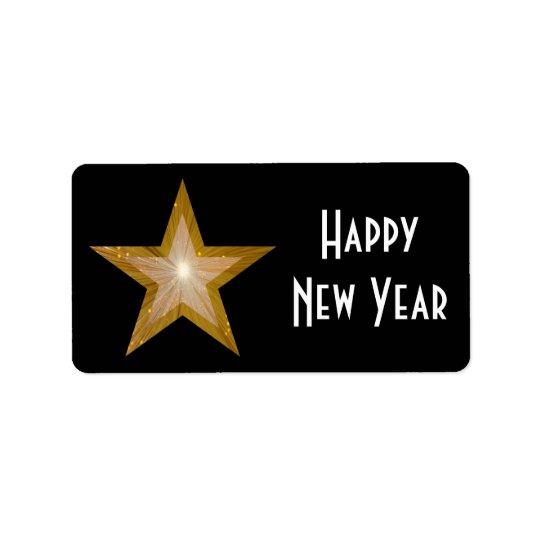 Gold Star Happy New Year medium large black Address Label