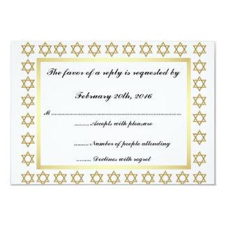 Gold Star of David Bar/Bat Mitzvah RSVP Card 9 Cm X 13 Cm Invitation Card
