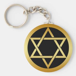 GOLD STAR OF DAVID BASIC ROUND BUTTON KEY RING