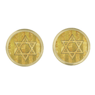Gold Star of David Gold Stripe Gold Finish Cufflinks