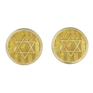 Gold Star of David Gold Stripe Gold Finish Cufflinks