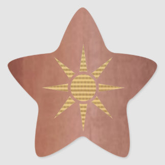 Gold Star on Exotic Copper Star Sticker