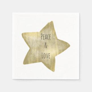 Gold Star Peace Love Paper Serviettes