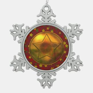 Gold Star Pewter Snowflake Decoration