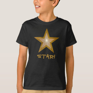 Gold Star print  'STAR!' kids t-shirt black