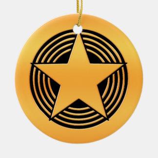 Gold Star Round Ceramic Decoration