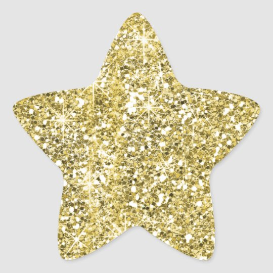 Gold Star Shape Faux Glitter Stickers