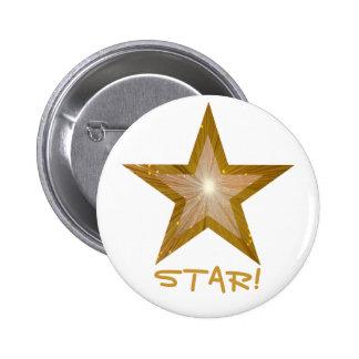 """Gold"" Star 'STAR!' button white"