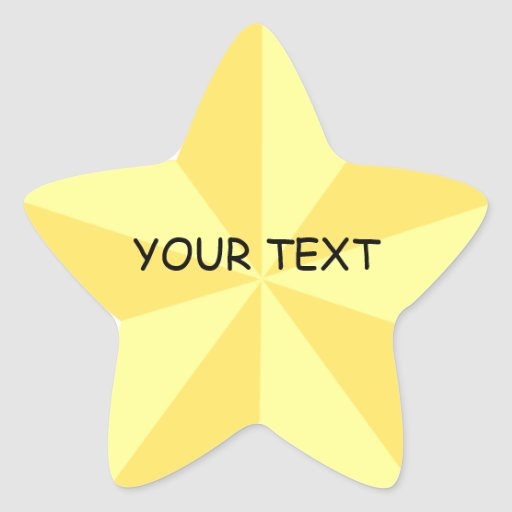 Gold Star Star Shape Sticker Template | Zazzle