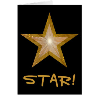 Gold Star 'STAR!' 'Well Done!' card black vertical