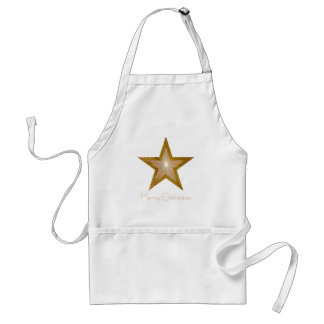 Gold Star Two Tone Merry Christmas apron