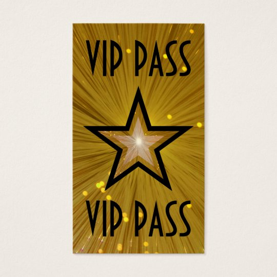 Gold Star 'VIP PASS' business card black back