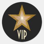 """""""Gold"""" Star VIP round sticker black"""